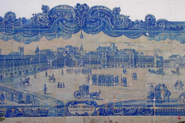 Picture of Praça do Comercio depicted on a wall in AlfamaLisbon - Portugal