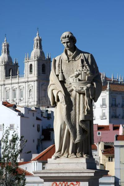 Picture of Portuguese hero with ship at Miradouro Santa LuziaLisbon - Portugal