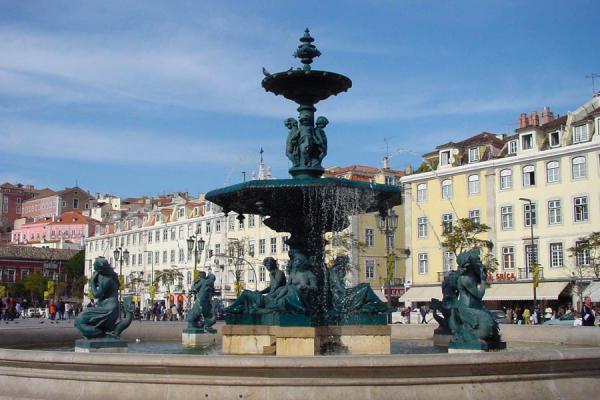 Picture of Baixa Lisbon (Portugal): Fountain and statues in Rossio square, Lisbon