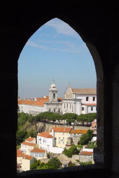 Looking through an opening in one of the towers | Castelo São Jorge | Portugal