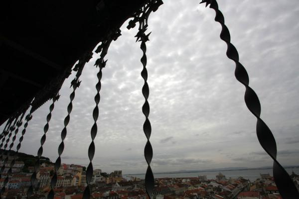 Picture of Santa Justa Lift (Portugal): View over Lisbon towards the Tagus river from the top of Santa Justa lift