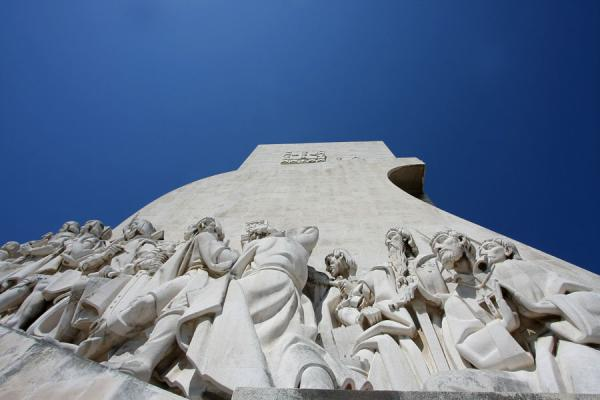 Looking up towards the sail of the stone boat | Monument of Discoveries | Portugal