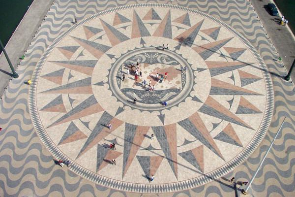 People walking on the world in the wind-rose | Monument of Discoveries | Portugal