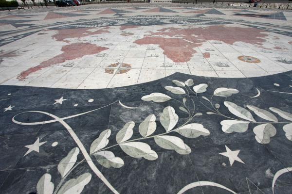 Close-up of the enormous map of the world in the windrose | Monument of Discoveries | Portugal