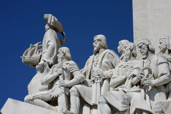 Picture of Henry the Navigator leading Vasco da Gama, Magellan and other Portuguese personalities at the monumentLisbon - Portugal