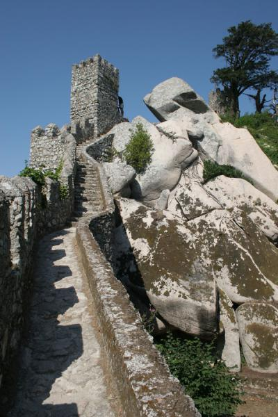 Picture of Stairway to heaven: stone stairway leading up a watchtowerSintra - Portugal