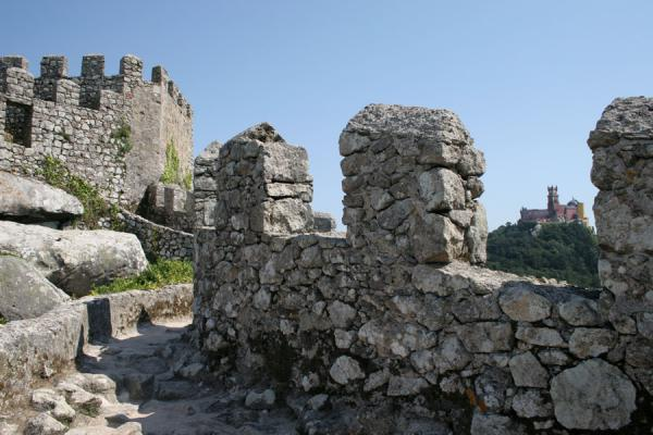 Some of the crenels of the defensive wall of the Sintra Castle | Moorish Castle | Portugal