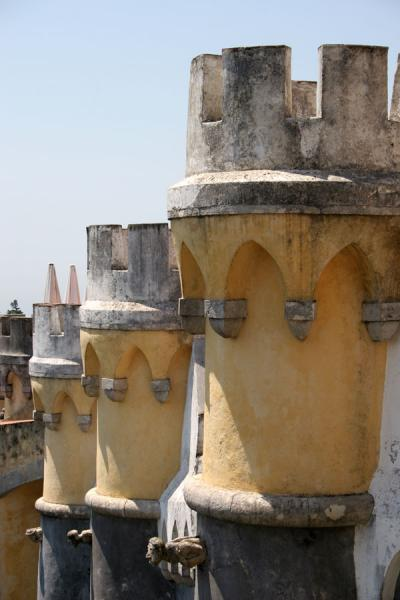 Close-up of some of the watchtowers of the Palace of Pena | Palace of Pena | Portugal