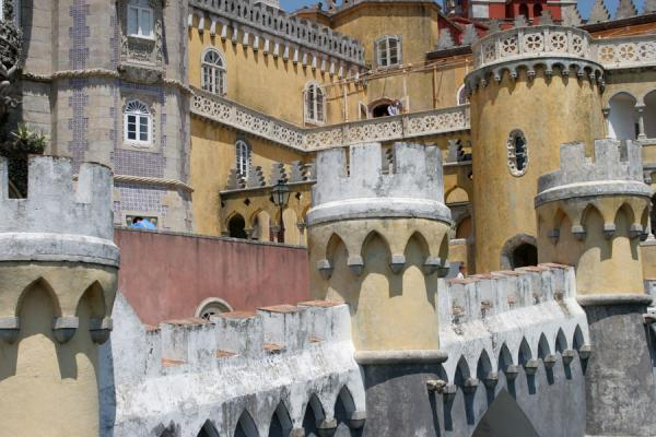 Yellow, grey, white and red composition at Palace of Pena | Palace of Pena | Portugal