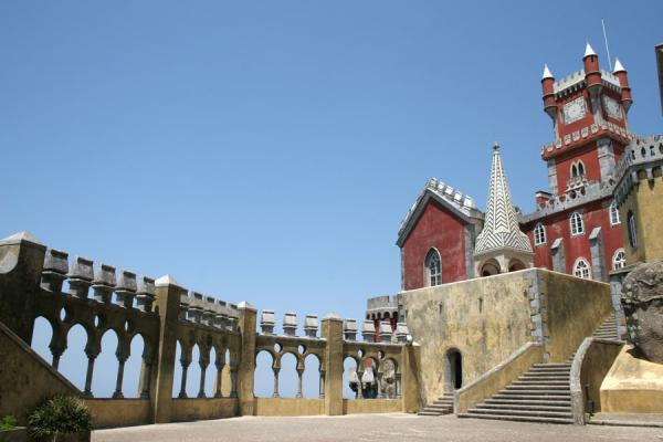 Arches, stairs and tower at the Palace of Pena | Palace of Pena | Portugal