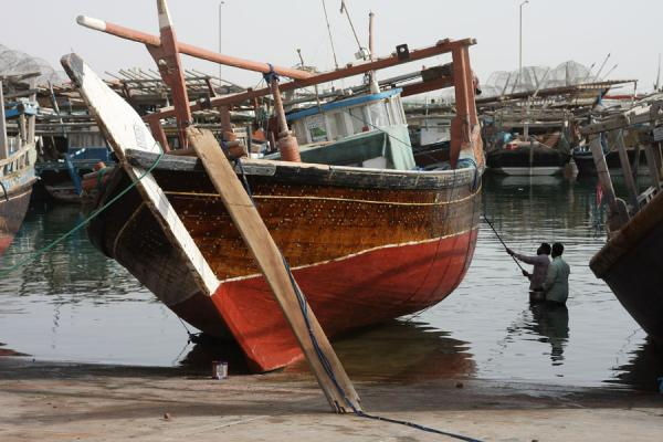 One of the boats being repaired | Al Khor Fishermen | 卡达