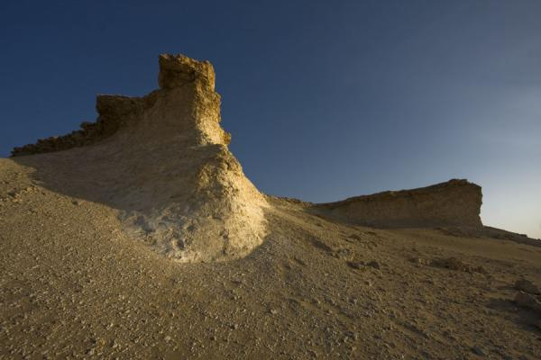 Limestone pillars seen from below | Bir Zekreet landscape | Qatar