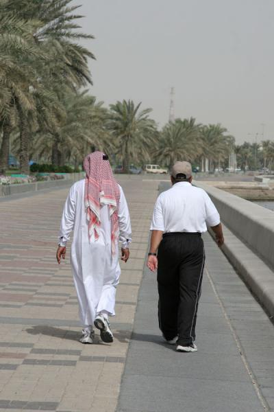 Picture of Qataris walking the Corniche of Doha