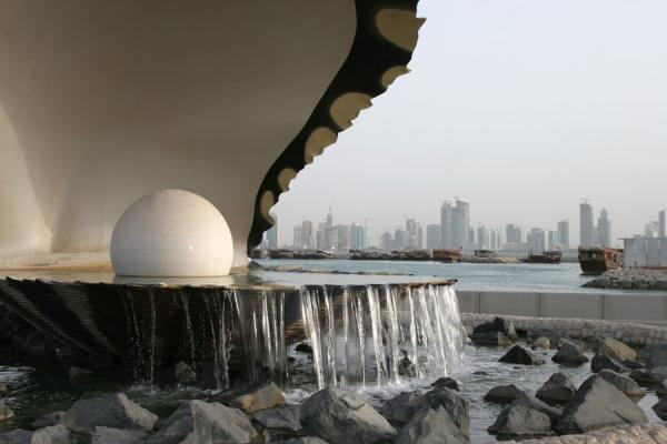 Pearl monument and skyline in the background on the Corniche | Doha Corniche | Qatar
