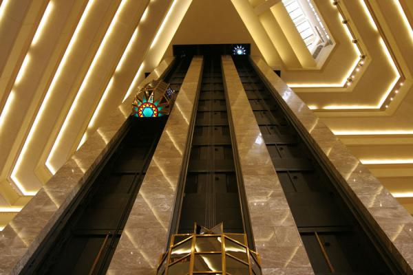 Interior of the Sheraton: elevators and floors | Doha modern architecture | Qatar
