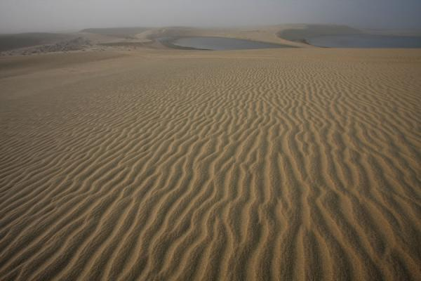 View over an inland lake from the top of a sand dune | Khor al Adaid Desert | Qatar