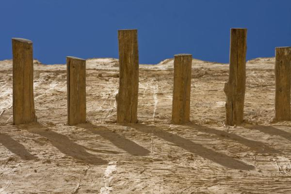 Picture of Umm Salal Mohammed fort (Qatar): Wooden beams sticking out of the adobe wall of one of the East towers