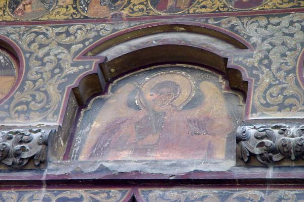 Detail of the upper, outer part of Stavropoleos church | Bucharest churches | Romania