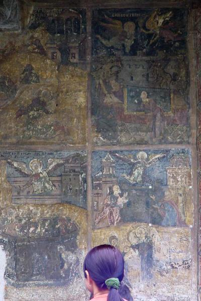 Some of the outside frescoes of the Stavropoleos church | Bucharest churches | Romania