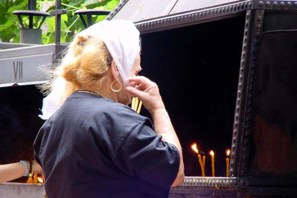 Picture of Burning candle at church, Bucharest