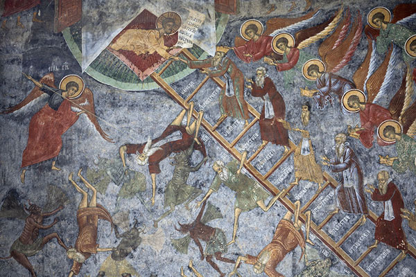 Foto van Detail of the Ladder to Paradise mural on the outer wall of the Resurrection Church of Sucevița monasteryBucovina - Roemenië