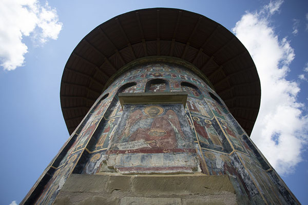Looking up the backside of the Resurrection Church of Sucevița Monastery | Bucovina monasteries | Romania