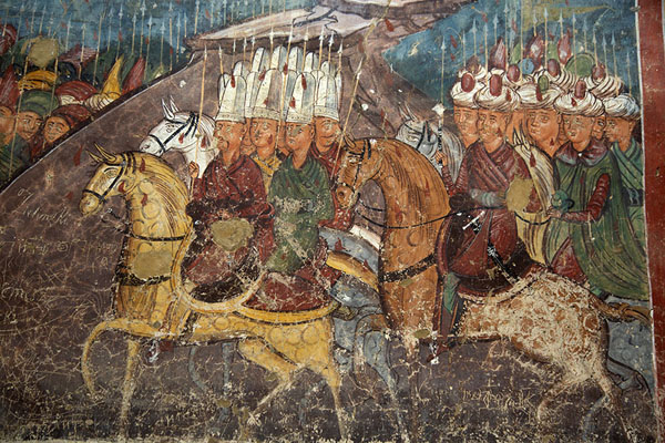 Foto van Turks depicted on a mural of Moldovița MonasteryBucovina - Roemenië
