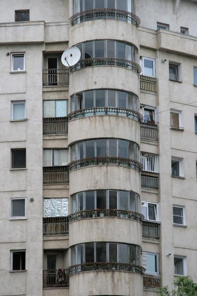 Picture of Union Avenue (Romania): Glass and concrete in apartment block on Unirii Avenue