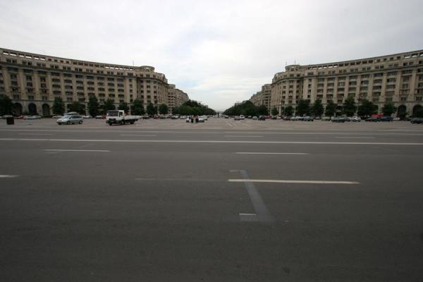 The vast square in front of the Palace of Parliament marking the beginning of Unirii Avenue | Union Avenue | Romania