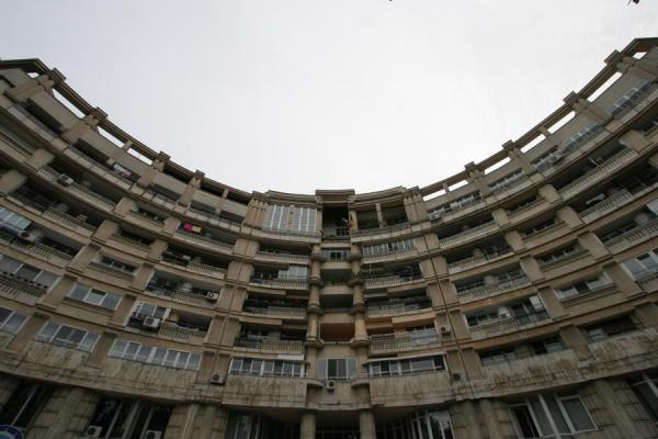 Foto di Rumania (Apartment block in semi-circle on Unirii Avenue)