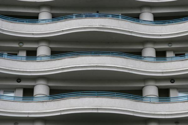 Curved balconies in an apartment block on Unirii Avenue | Union Avenue | Romania