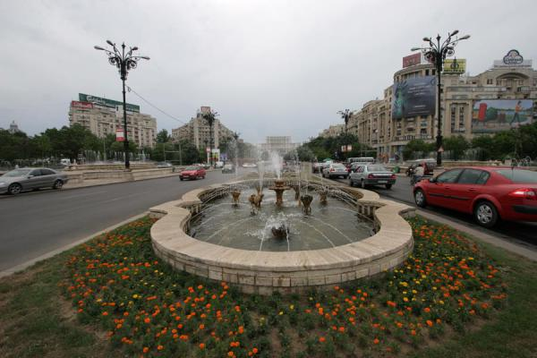 Picture of Union Avenue (Romania): Unirii Square: view towards the Palace of Parliament