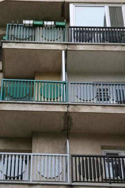 Picture of Union Avenue (Romania): Green and blue balconies of apartment block on Unirii Avenue