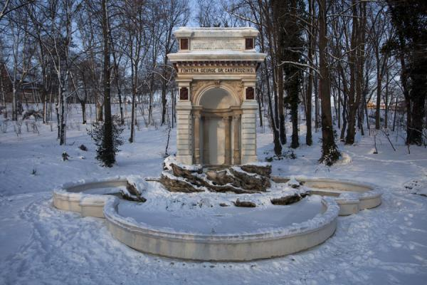 Picture of Carol Park (Romania): Winter view of a fountain in Carol Park