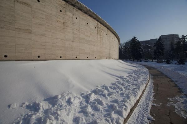 Picture of Snow-covered tombs around the mausoleum in Carol Park