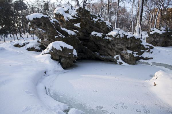Frozen pond with rocks in Carol Park | Carol Park | Rumania