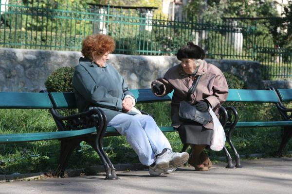 Picture of Cismigiu Gardens (Romania): Romanian women on a bench in Cismigiu Gardens