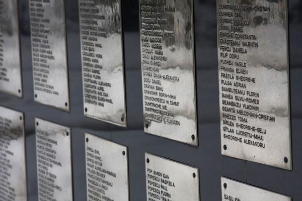 Close-up of names of the heroes of the 1989 Revolution | Cemetery of Heroes of Revolution | Romania