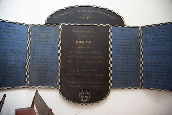 Panel with German soldiers who died in World War I, in the fortified church of Prejmer | Fortified Saxon churches | 罗马尼亚