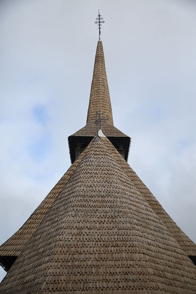 Picture of Looking up the roof of the wooden church of BârsanaMaramureș - Romania