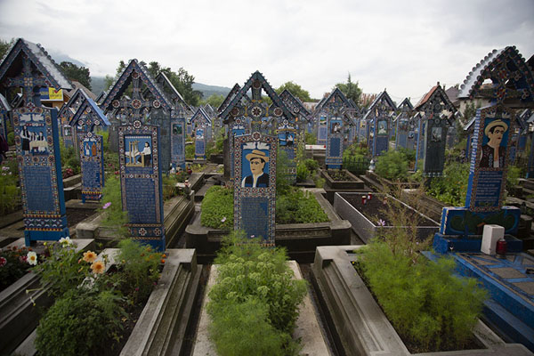 Foto van View of a section of the Merry CemeterySăpânța - Roemenië