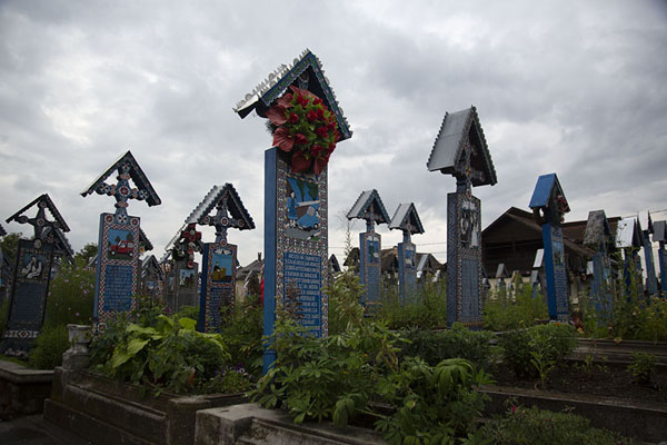Foto van Rows of blue painted crosses at the Merry CemeterySăpânța - Roemenië