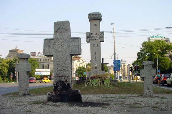 Picture of Monuments of Romanian revolution (Romania): Crosses in the middle of Bucharest remembering those who died in the Romanian revolution