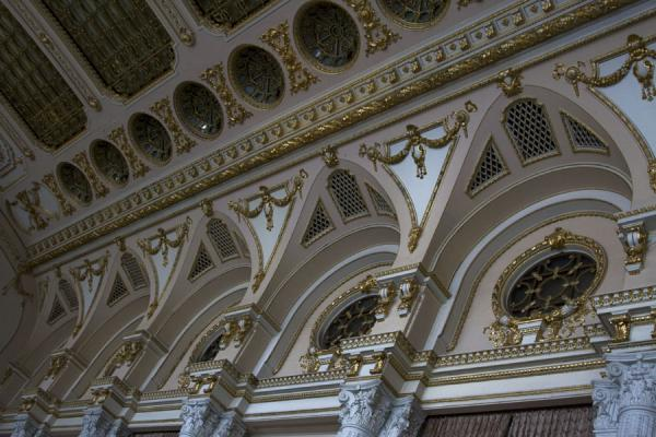 Detail of the ceiling in one of the many halls in the Palace | Palace of Parliament | Romania