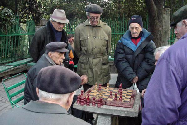 Playing chess in Cișmigiu Gardens | Romanian people | Romania