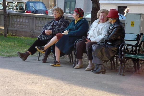 Picture of Romanian people (Romania): Old women on a bench in the park outside the Atheneum