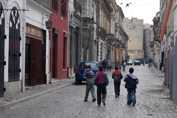 Picture of Young Romanian boys walking the streets of Bucharest - Romania - Europe