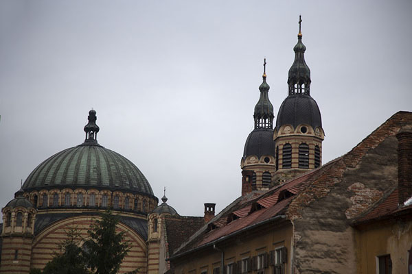 The Church of the holy trinity towering above buildings in Sibiu | Sibiu | Roemenië