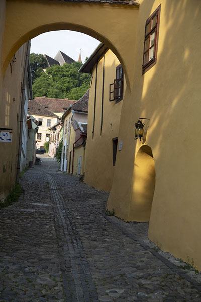 Picture of Arch over one of the cobble-stoned streets in Sighișoara with the house where Vlad the Impaler was born on the right - Romania - Europe