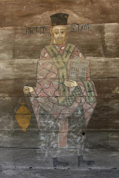 Foto van Religious figure painted on wood, exterior of a Romanian church in Village Museum - Roemenië - Europa